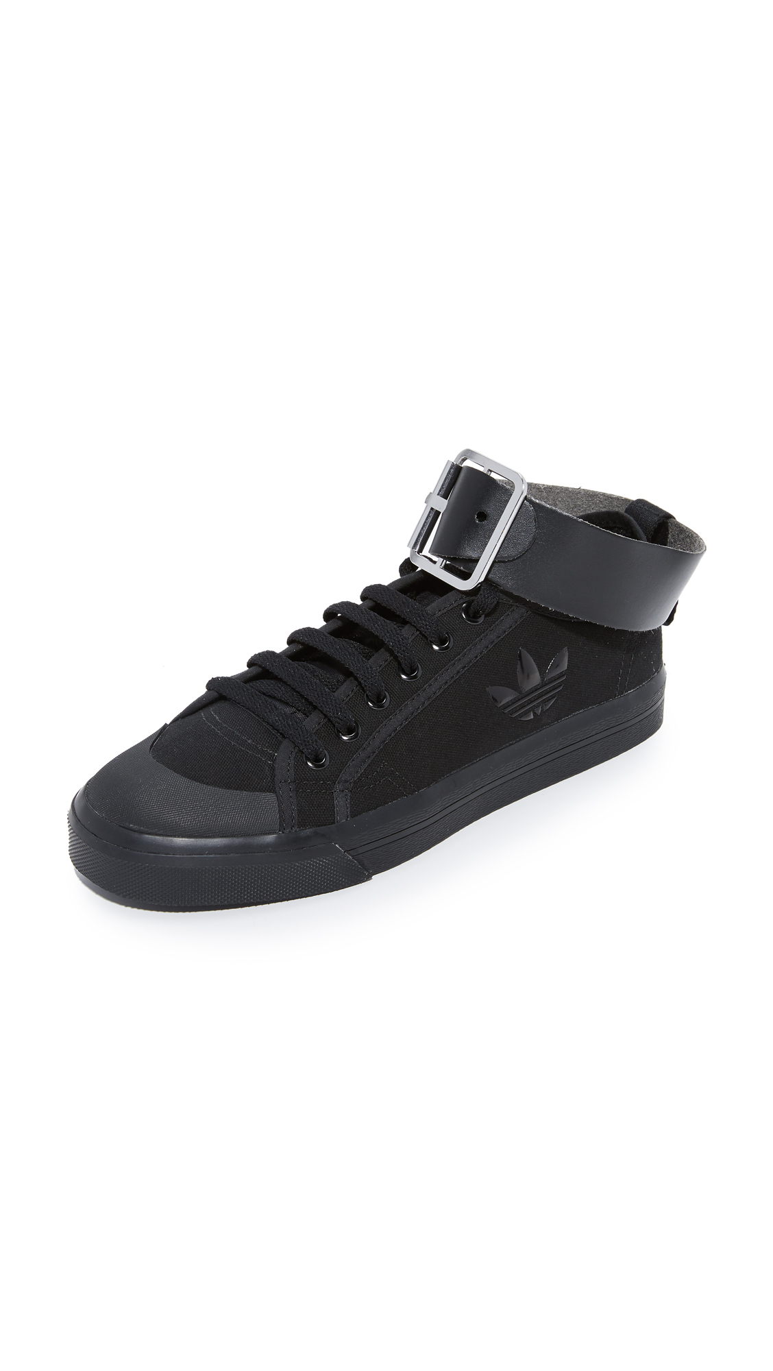 Adidas Raf Simons Spirit Buckle Sneakers - Black/Black/Bright Yellow at Shopbop