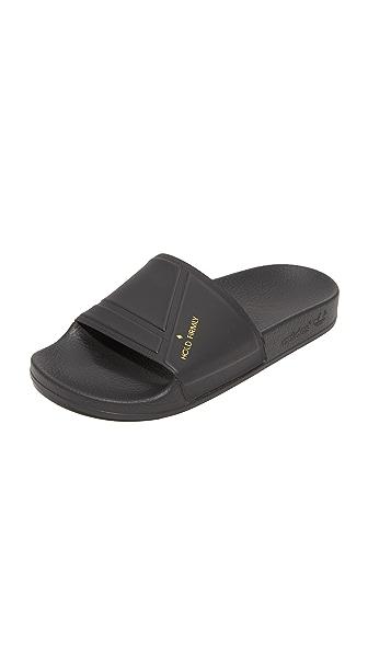Adidas x Raf Simmons Bunny Adilette Slides - Black/Black/Pyrite