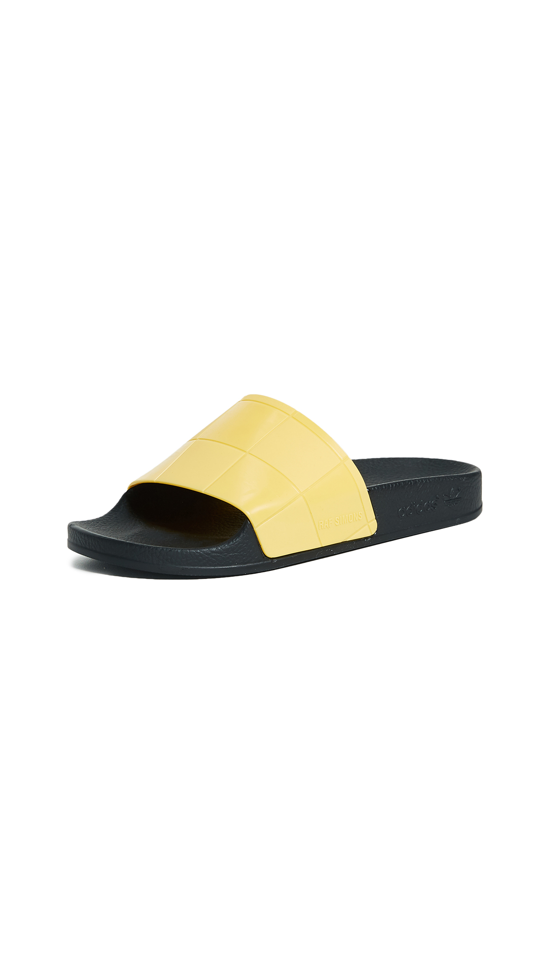 Adidas Raf Simmons Adilette Checkerboard Slides - Black/Super Lemon