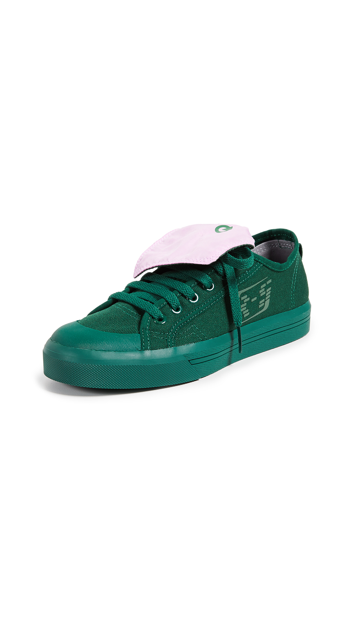 Adidas Raf Simons Spirit Low Asymmetrical Tongue Sneakers - Dark Green/Pink