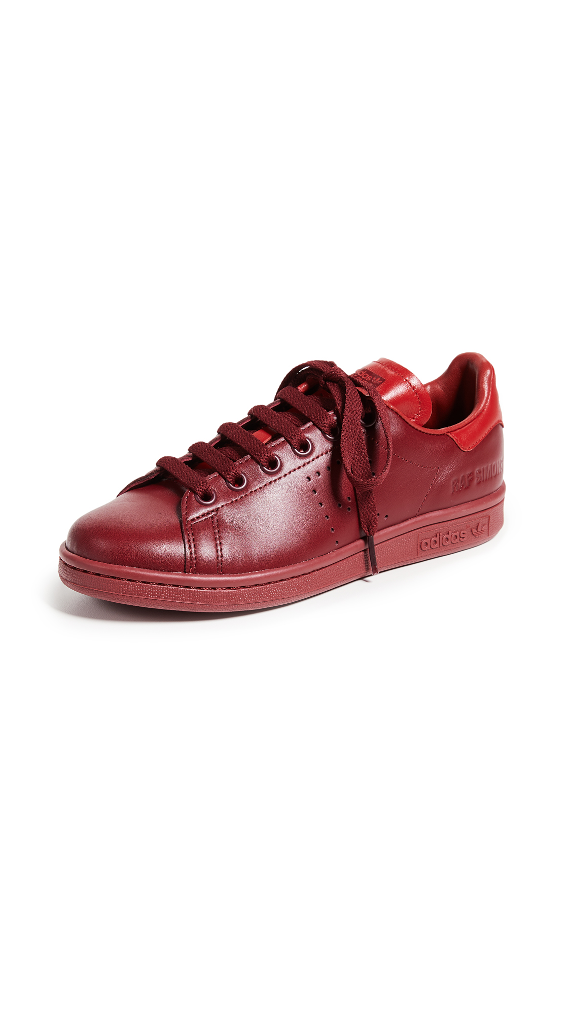 on sale 79cc4 5729d Adidas Originals Raf Simons Stan Smith Sneakers In Burgundy Power Red