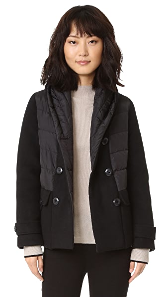 Add Down Double Breasted Wool Down Jacket - Black at Shopbop