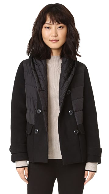 Add Down Double Breasted Wool Down Jacket