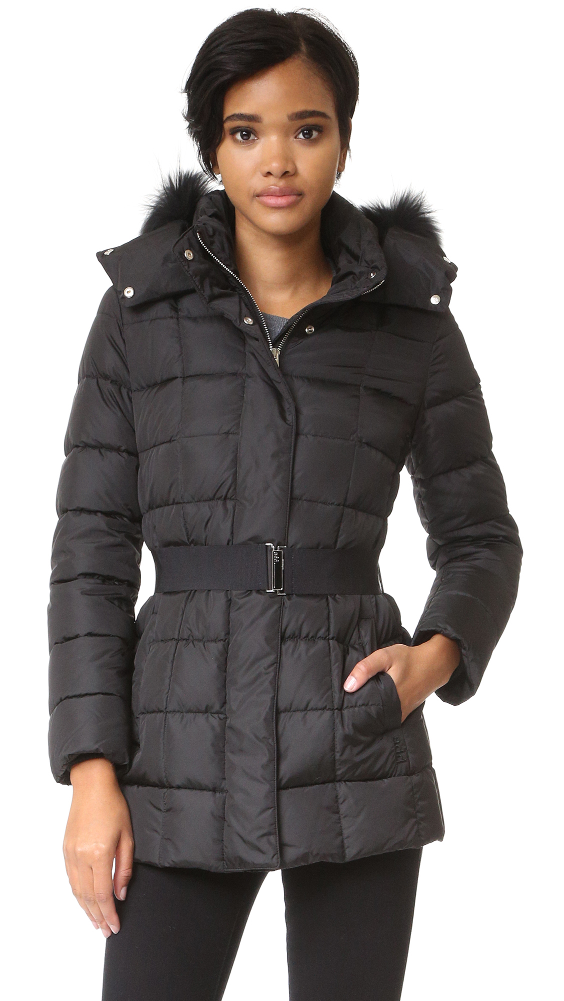 Add Down Down Jacket With Fur - Black at Shopbop
