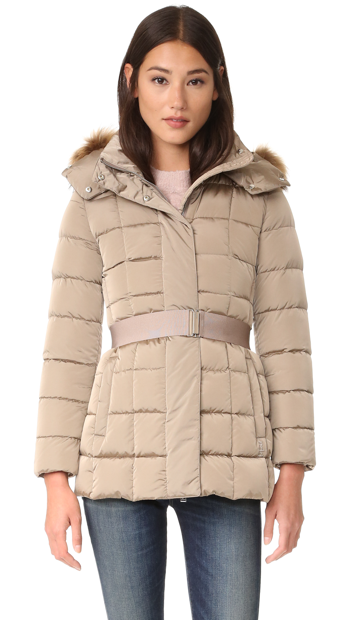 Add Down Down Jacket With Fur - Moka at Shopbop