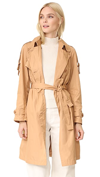 Add Down Trench Coat - Beige