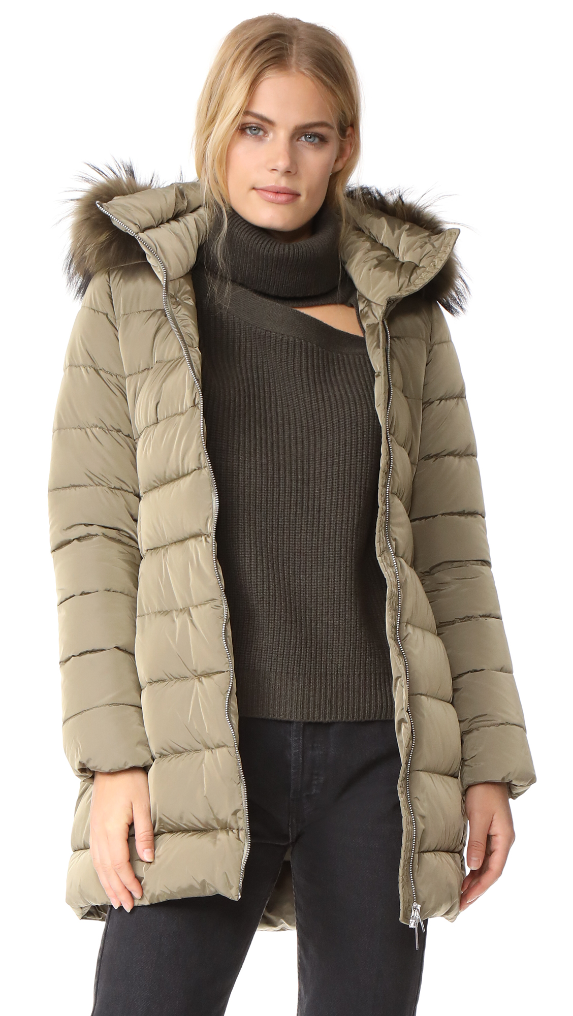 Add Down Down Coat with Fur - Army