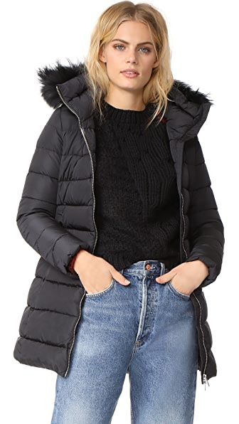 Add Down Down Coat with Fur