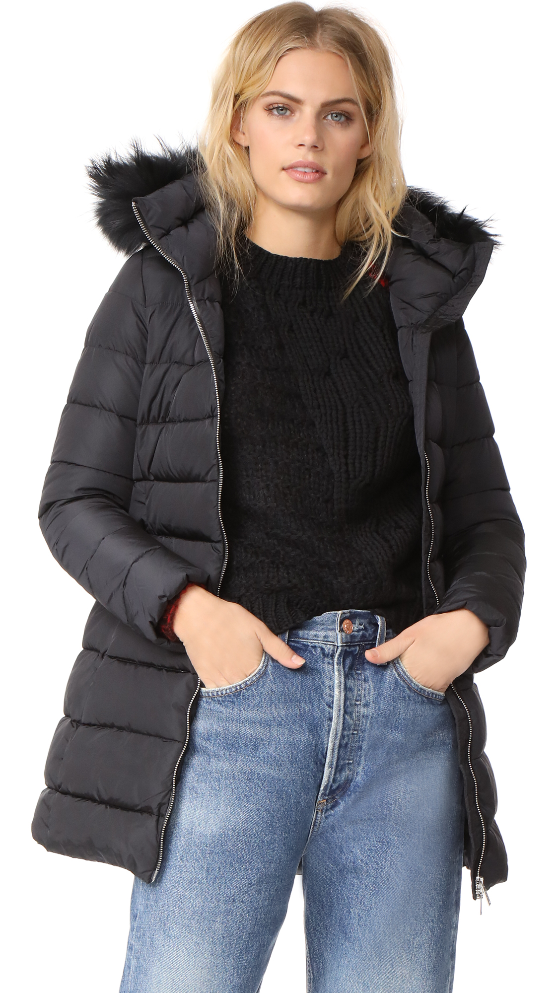 Add Down Down Coat with Fur - Black
