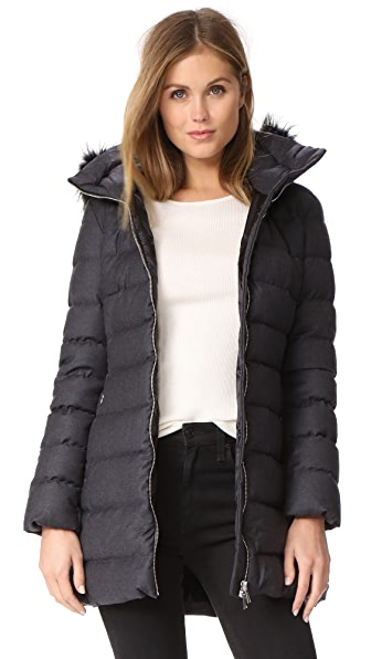 Add Down Fur Trim Wool Puffer Coat