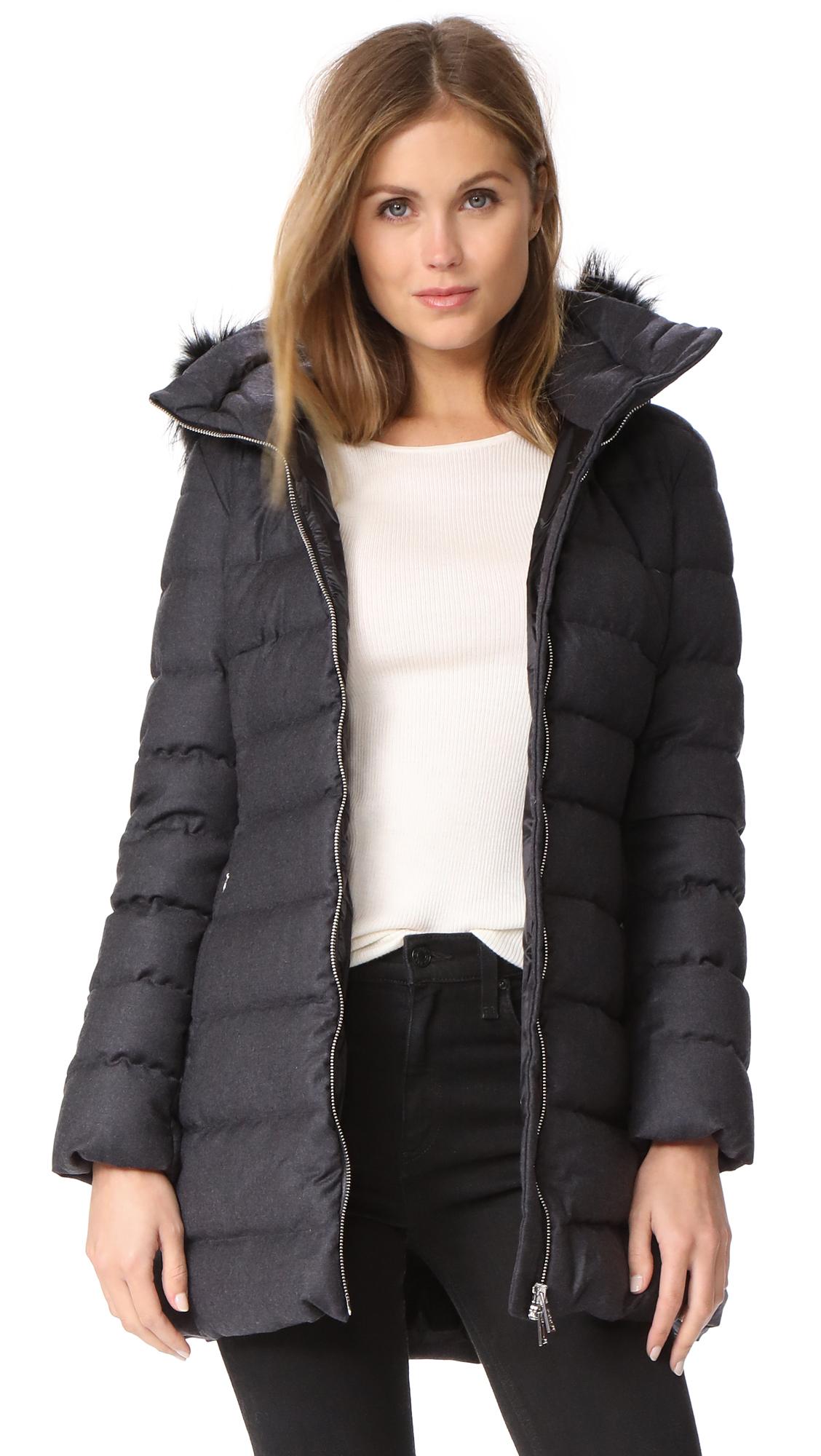Add Down Fur Trim Wool Puffer Coat - Grey Melange