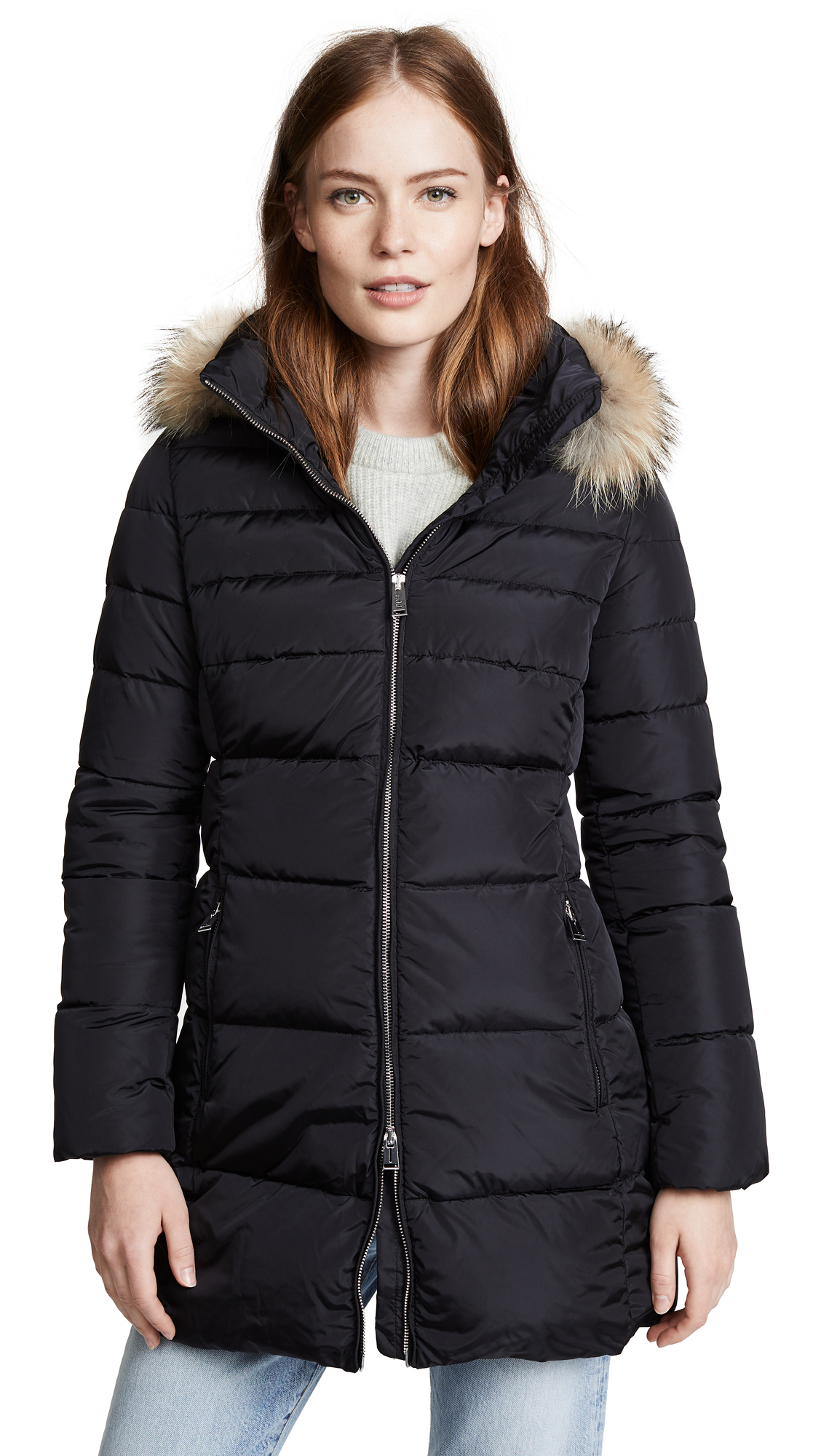 ADD Hooded Down Coat With Fur in Navy