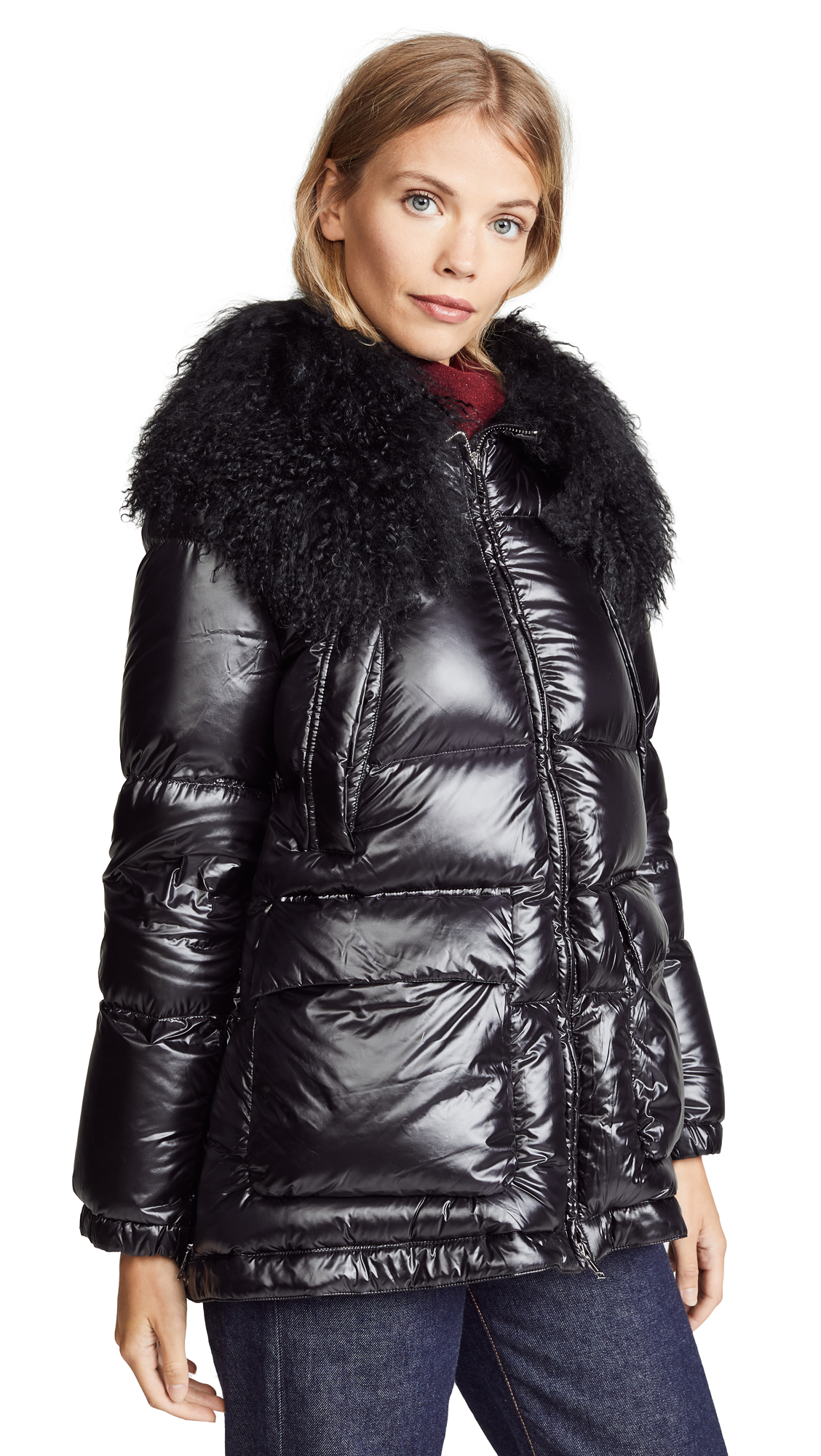 ADD Down Jacket With Fur Border in Black