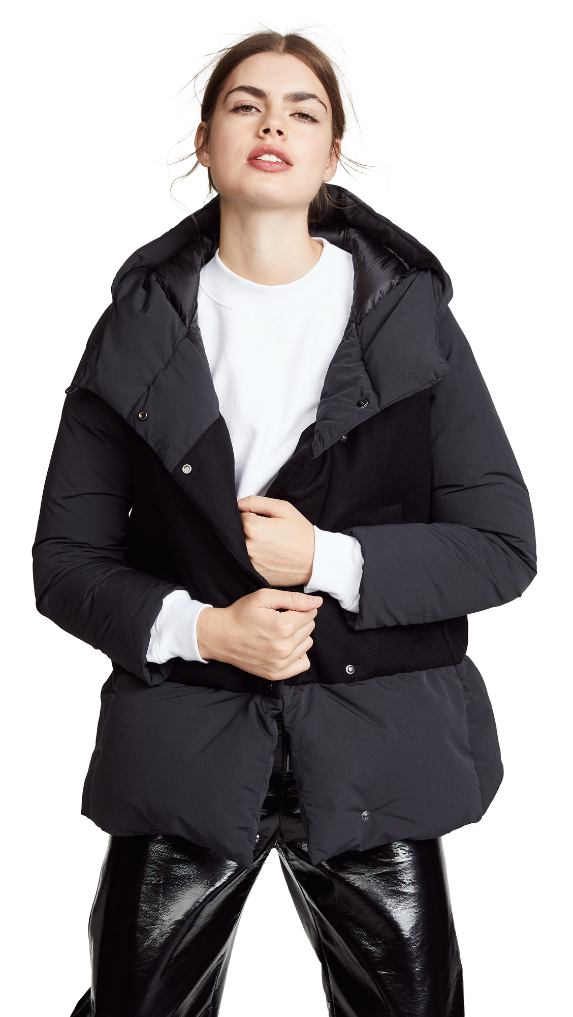 ADD Hooded Over Down Jacket in Black
