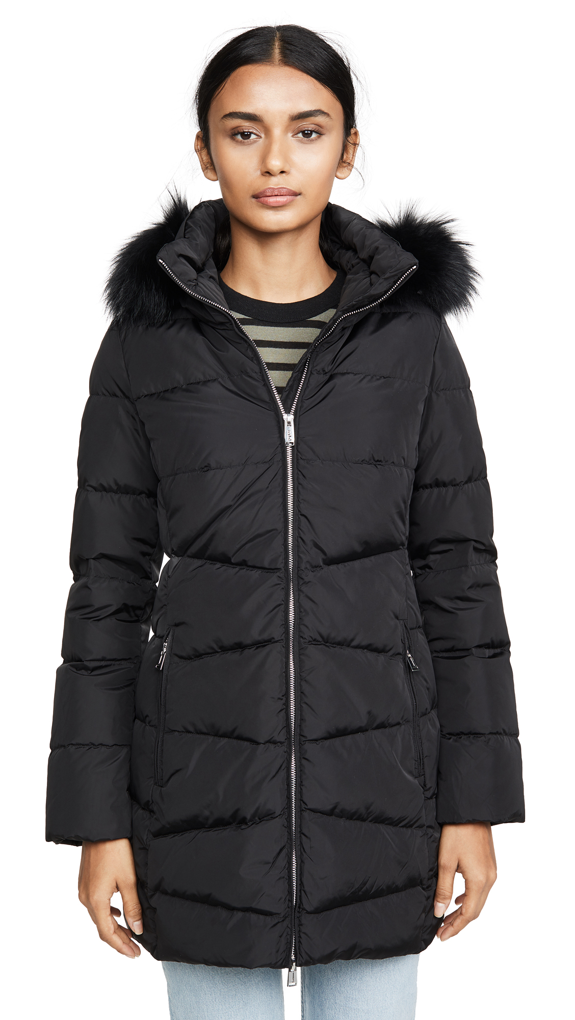 Add Down Down Coat With Detachable Fur Hood - Black