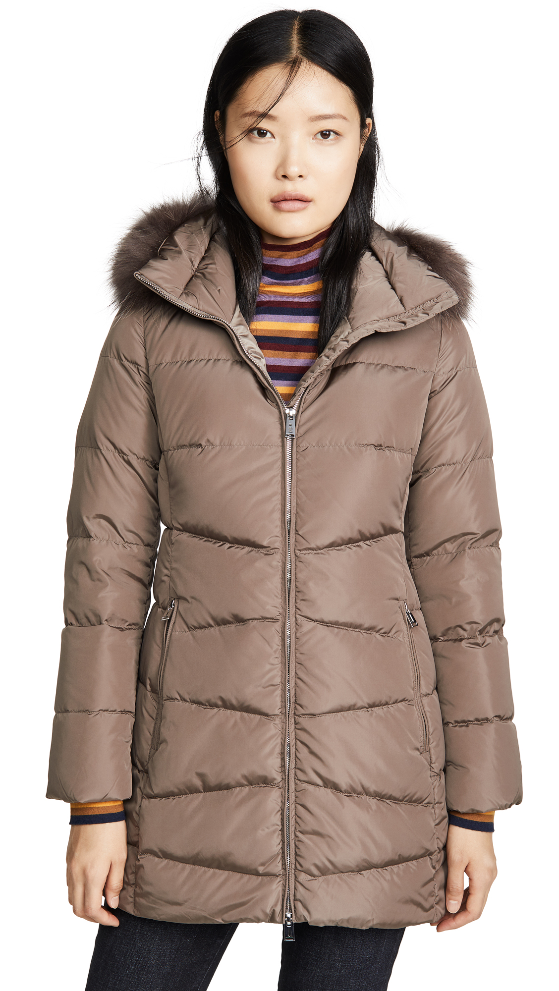 Add Down Down Coat With Detachable Fur Hood - Castor