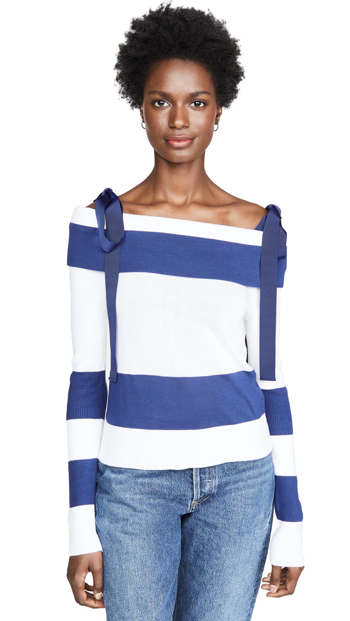 Adeam Off Shoulder Sweater - Navy
