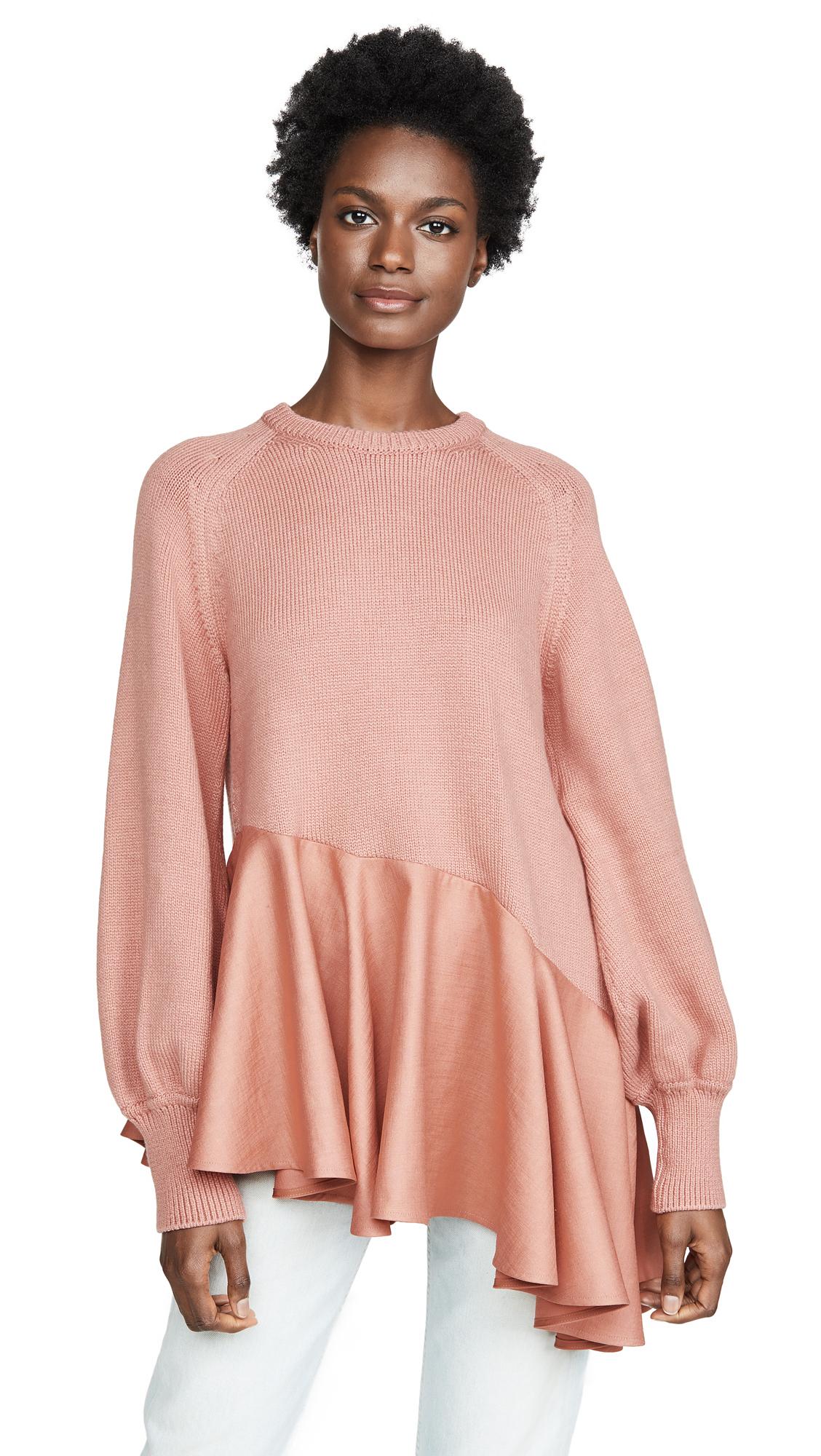 Adeam Asymmetrical Ruffle Sweater - Peach Coral