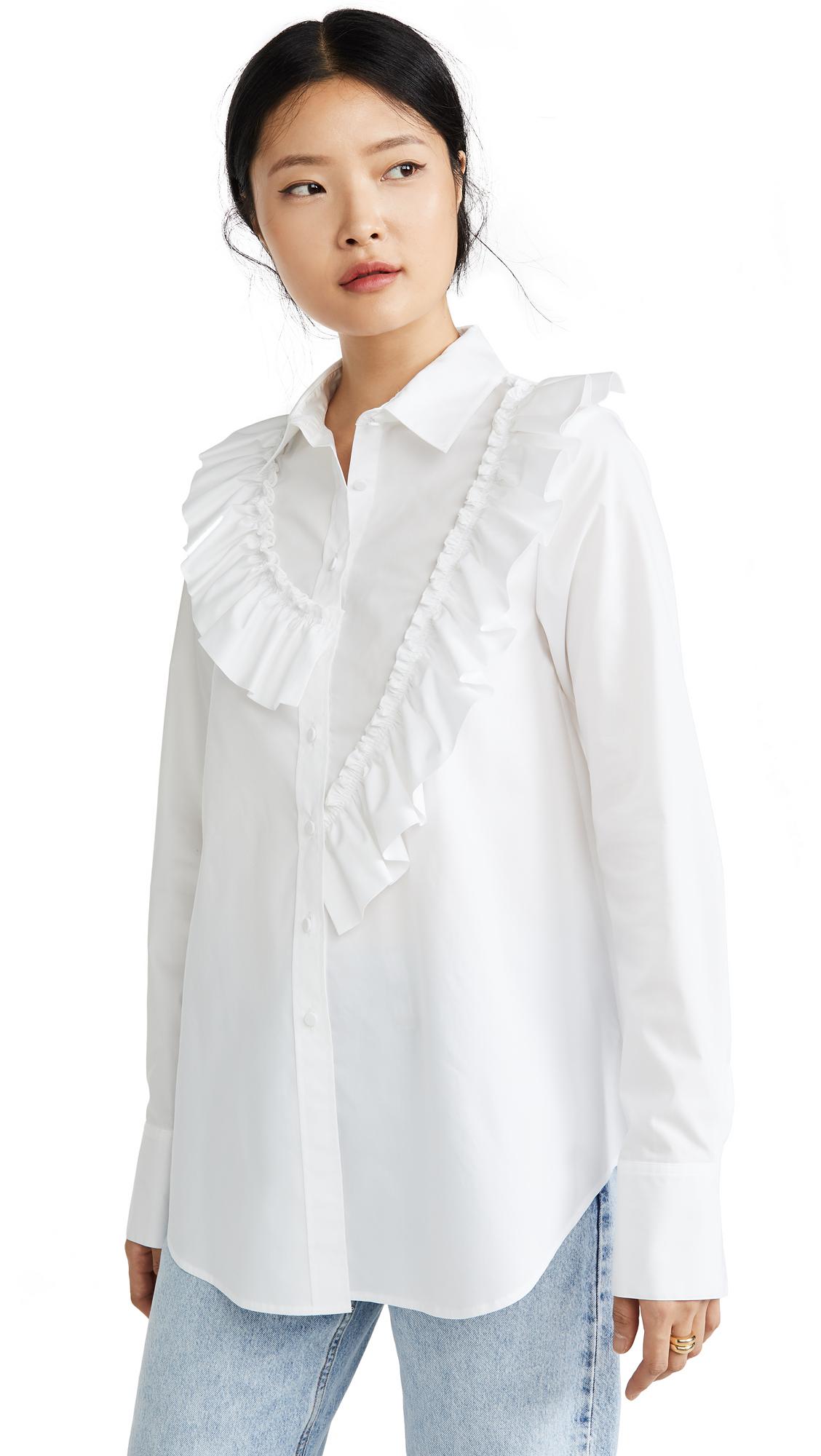 Adeam Asymmetric Ruffle Shirt - White