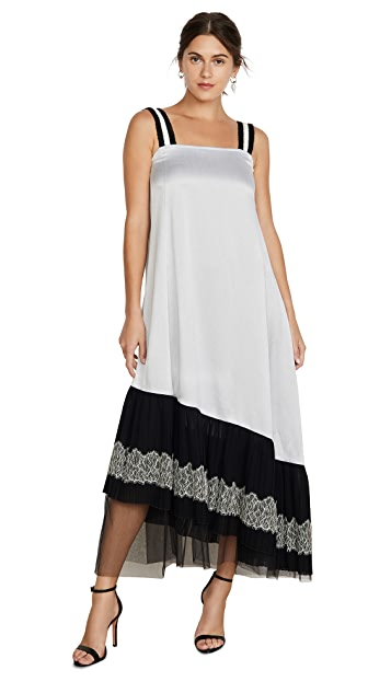 Adeam Lace Up Pleated Slip Dress