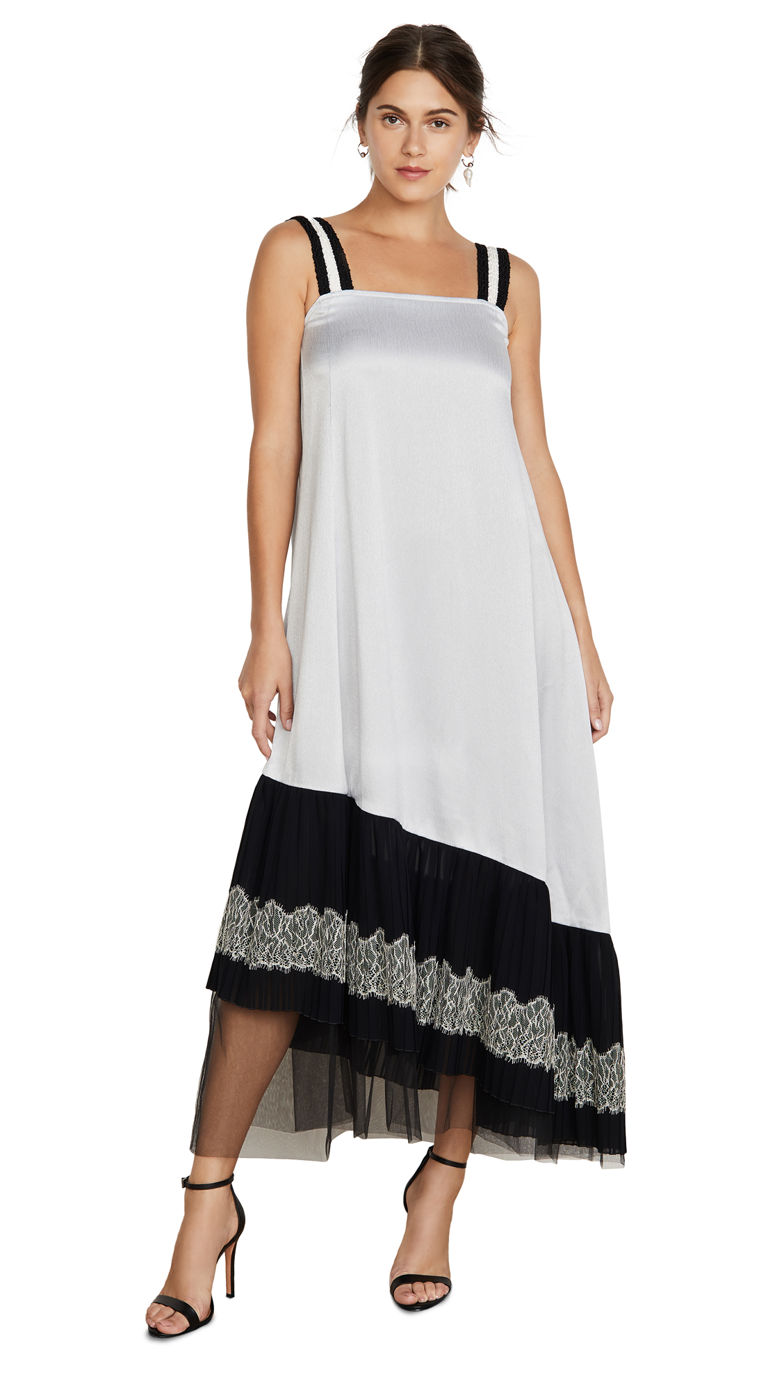 Buy Adeam online - photo of Adeam Lace Up Pleated Slip Dress