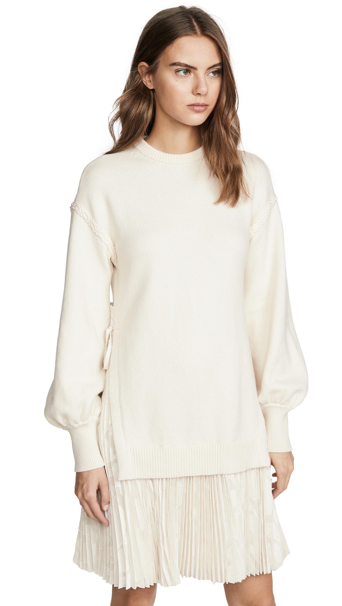Adeam Pleated Sweater Dress - Ivory