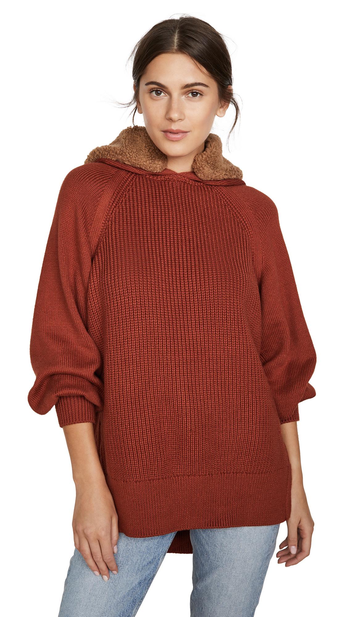 Adeam Faux Fur Trimmed Hoodie Sweater - Sienna