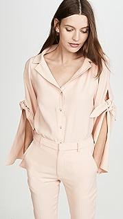 Adeam 女式长袖绑带衬衫