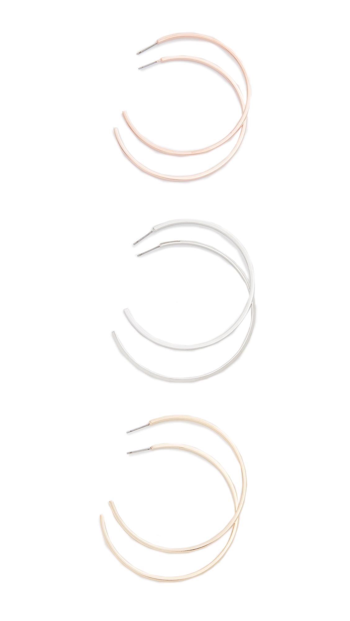 Adia Kibur Large Round Hoop Earring Set - Multi