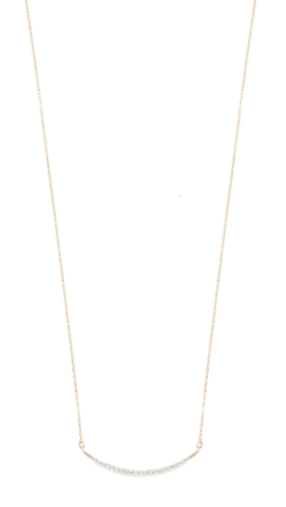 Adina Reyter 14k Gold Large Pave Curve Necklace - Gold/Clear