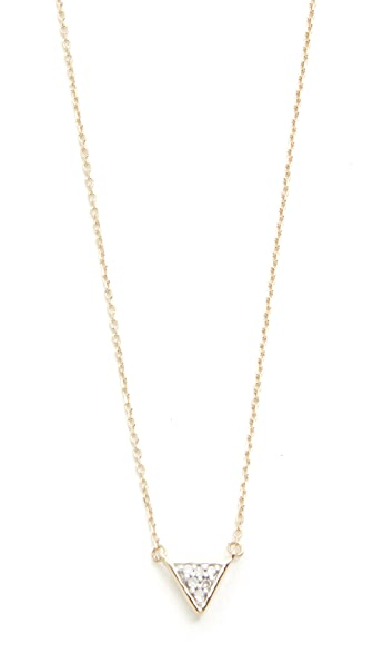 Adina Reyter Super Tiny Solid Pave Triangle Necklace - Gold/Clear