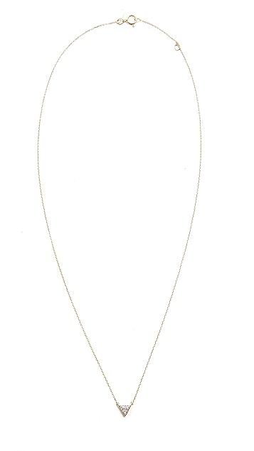 Adina Reyter Super Tiny Solid Pave Triangle Necklace