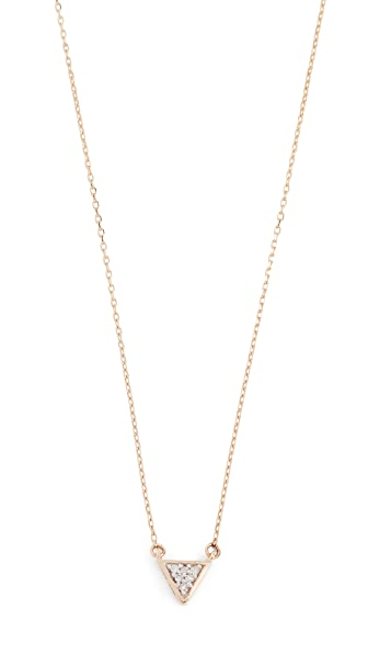 Adina Reyter Super Tiny Solid Pave Triangle Necklace In Gold/Clear