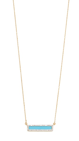 Adina Reyter Turquiose + Diamond Bar Necklace