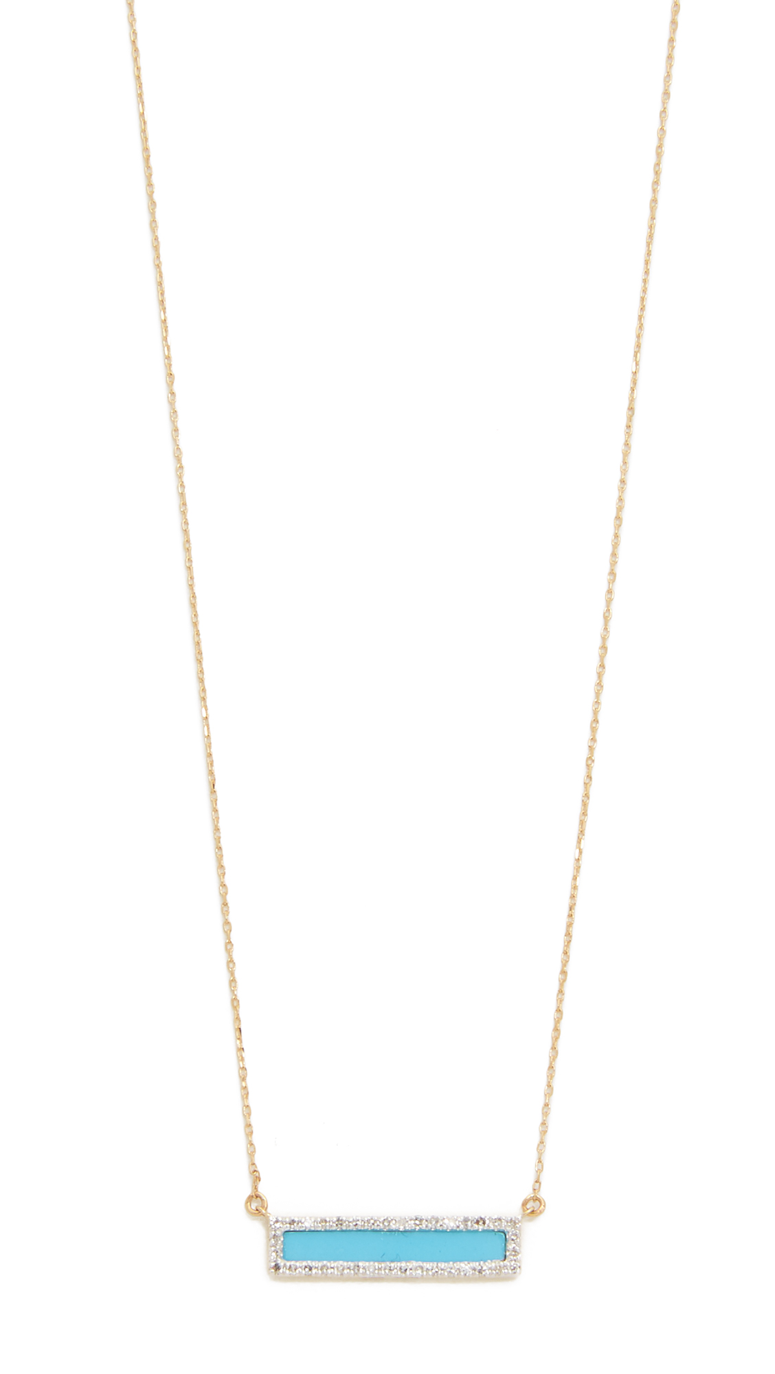 Adina Reyter Turquiose + Diamond Bar Necklace - Turquoise/Gold