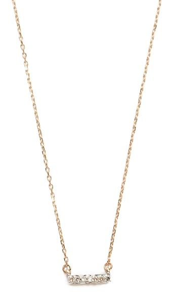 Adina Reyter Super Tiny 14k Gold Pave Bar Necklace - Gold