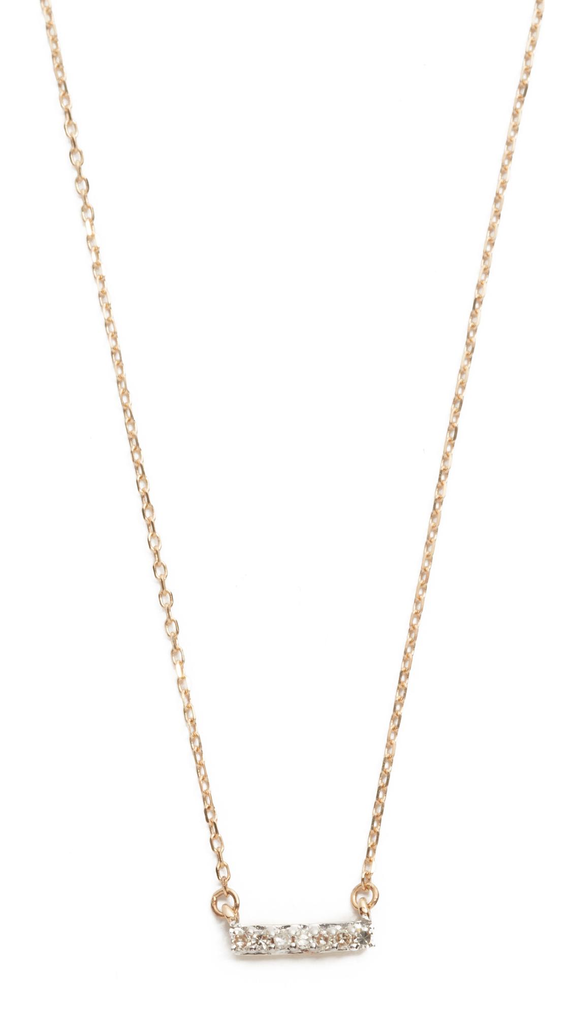 Adina Reyter Super Tiny 14k Gold Pave Bar Necklace - Gold