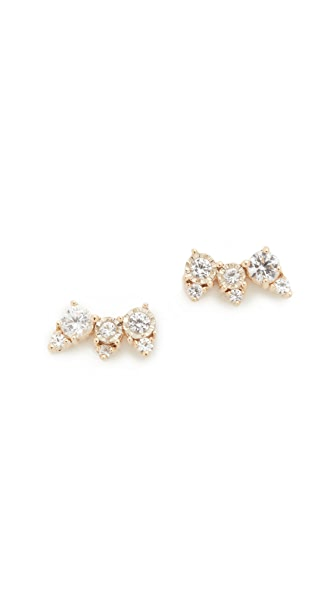 Adina Reyter White Sapphire Triple Stack Stud Earrings