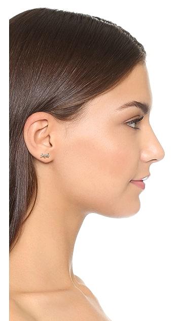Adina Reyter 14k Gold White Sapphire Triple Stack Stud Earrings