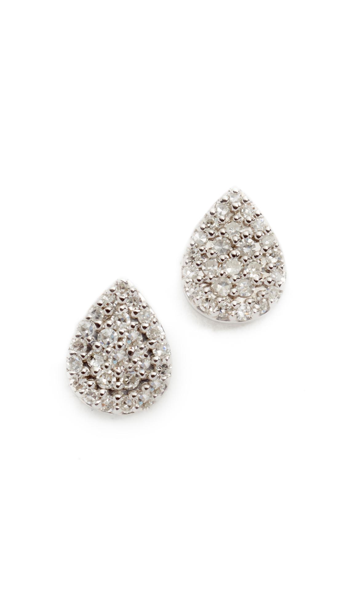 Adina Reyter Solid Pave Teardrop Stud Earrings - Sterling Silver