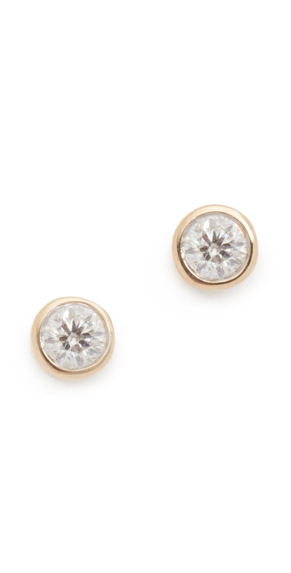 14k Gold Single Diamond Stud Earrings Adina Reyter