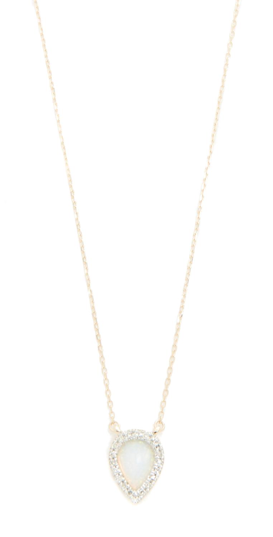 14k Gold Small Opal  Diamond Teardrop Pendant Necklace Adina Reyter