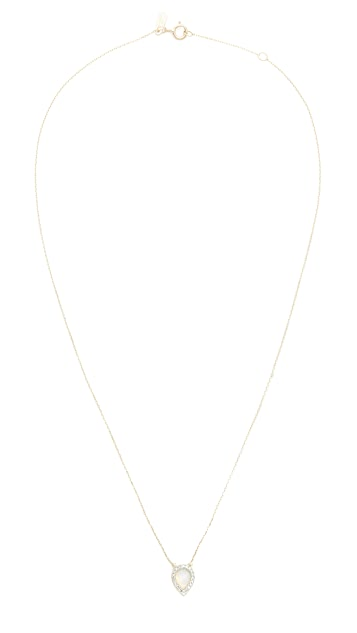 Adina Reyter 14k Gold Small Opal & Diamond Teardrop Pendant Necklace