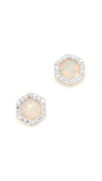 Adina Reyter 14k Gold Opal & Diamond Hexagon Post Earrings - Gold
