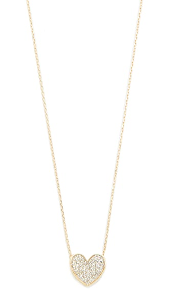 Adina Reyter Pavé Folded Heart Necklace - Gold
