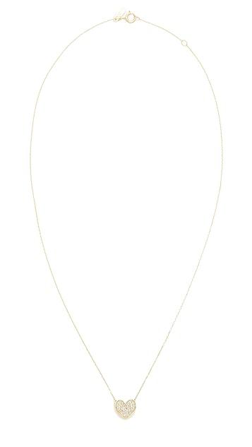 Adina Reyter Pavé Folded Heart Necklace