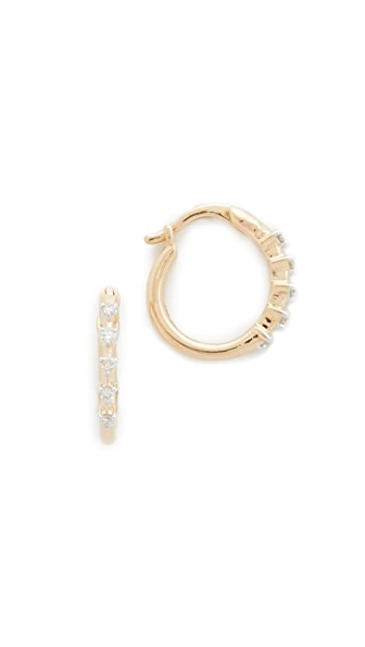 Adina Reyter 14k Gold 5 Diamond Huggie Hoop Earrings