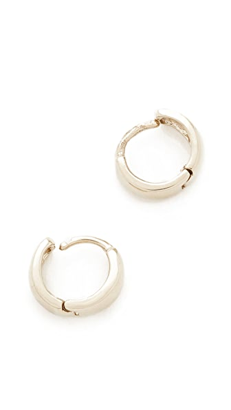 Adina Reyter 14k Gold Wide Huggie Hoop Earrings - White Gold