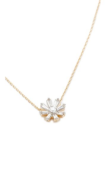 Adina Reyter 14k Gold Diamond Baguette Flower Necklace