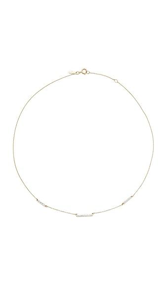 Adina Reyter 14k Gold Pave 3 Bar Chain Choker Necklace